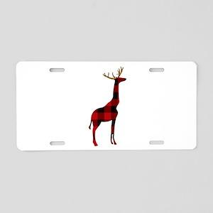 Christmas Plaid Reindeer Gi Aluminum License Plate