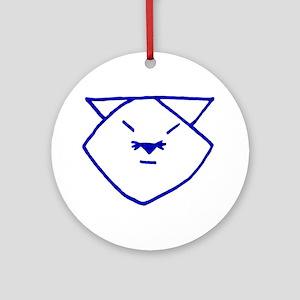 Blue Anime Cat Ornament (Round)
