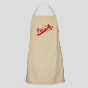Vintage Santa Claus With his Reindeer and Sl Apron