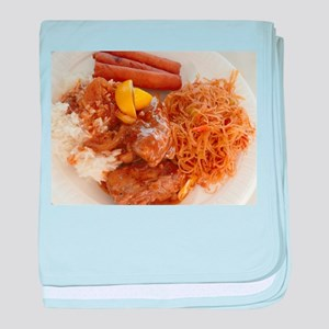 Filipino chicken adobo,lumpia and pan baby blanket