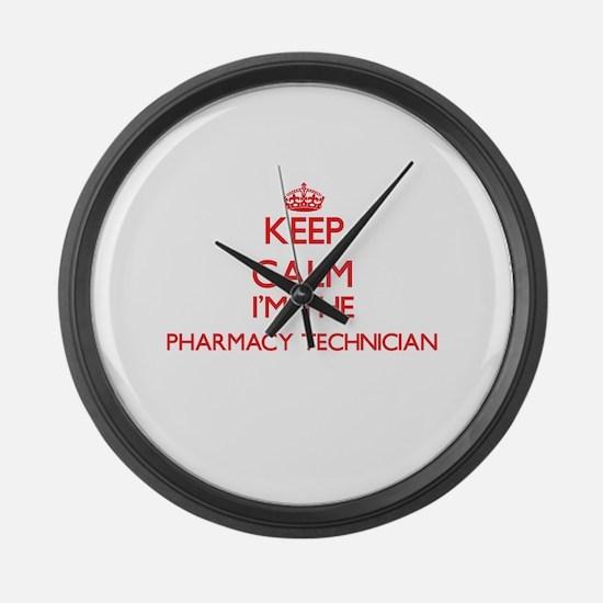 Keep calm I'm the Pharmacy Techni Large Wall Clock