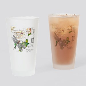 floral text and dragonfly Drinking Glass