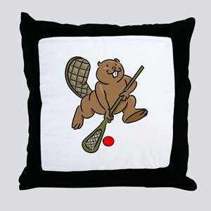 Lacrosse Beaver Throw Pillow