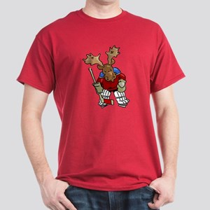 Moose Playing Hockey Dark T-Shirt