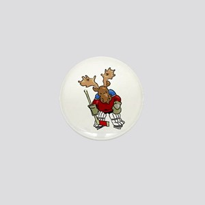 Moose Playing Hockey Mini Button