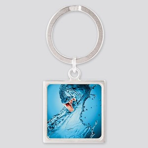 Water Snake Graphic Illustration Square Keychain