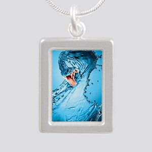 Water Snake Graphic Illu Silver Portrait Necklace