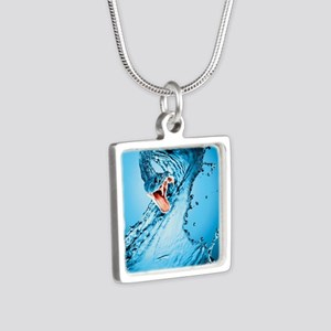 Water Snake Graphic Illust Silver Square Necklace