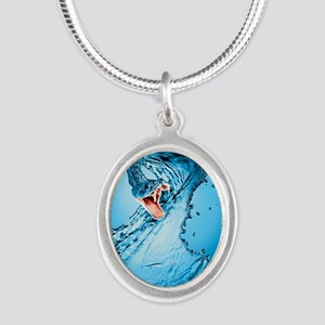 Water Snake Graphic Illustrat Silver Oval Necklace