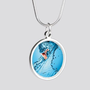 Water Snake Graphic Illustra Silver Round Necklace