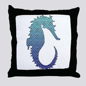 Wave Seahorse Throw Pillow