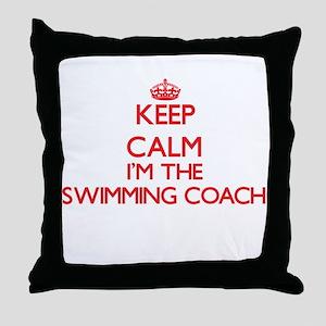Keep calm I'm the Swimming Coach Throw Pillow