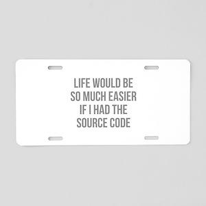 Life Source Code Aluminum License Plate