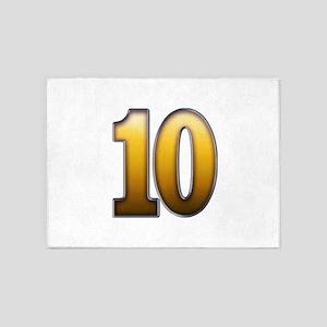 Big Gold Number 10 5'x7'Area Rug