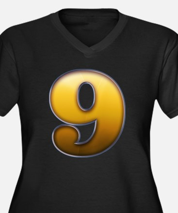 Big Gold Number 9 Plus Size T-Shirt