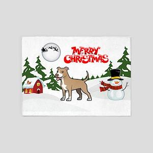 Merry Christmas American Pitbull Te 5'x7'Area Rug