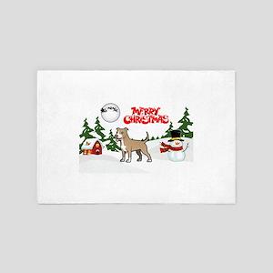 Merry Christmas American Pitbull Terri 4' x 6' Rug