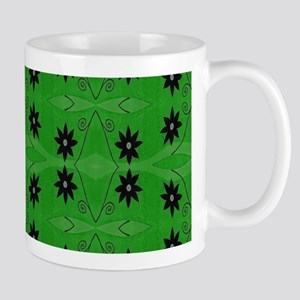 Black Flowers on a green background Mugs