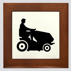 Lawn mower driver Framed Tile