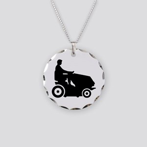 Lawn mower driver Necklace Circle Charm