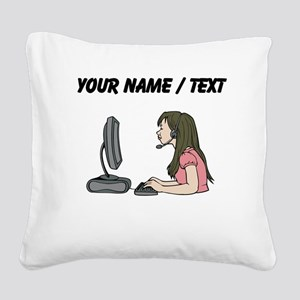 Custom Woman At Work Square Canvas Pillow