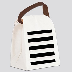 Black and White Stripes Striped H Canvas Lunch Bag