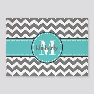 Gray and Turquoise Chevron Custom M 5'x7'Area Rug