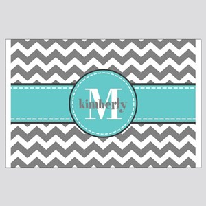 Gray and Turquoise Chevron Custom Mon Large Poster