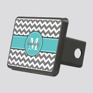 Gray and Turquoise Chevron Rectangular Hitch Cover