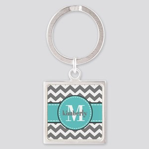Gray and Turquoise Chevron Custom Square Keychain