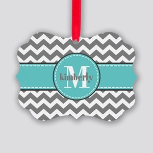 Gray and Turquoise Chevron Custom Picture Ornament