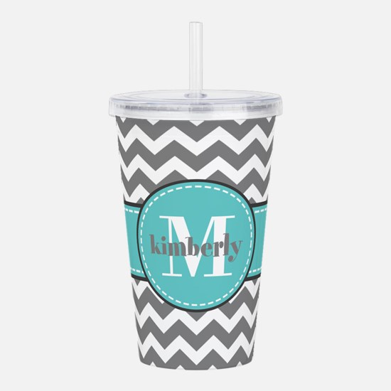 Gray and Turquoise Che Acrylic Double-wall Tumbler