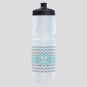 Gray and Turquoise Chevron Custom Mo Sports Bottle