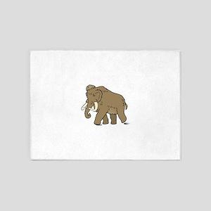 Cute Woolly Mammoth 5'x7'Area Rug