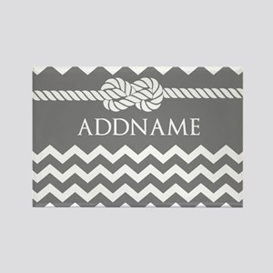Gray and Charcoal Modern Chevron Rectangle Magnet