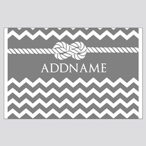 Gray and Charcoal Modern Chevron Cust Large Poster