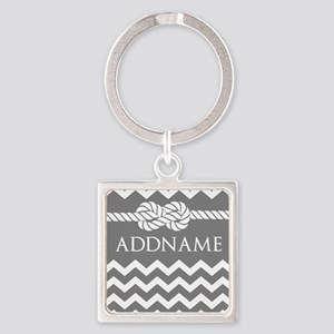 Gray and Charcoal Modern Chevron C Square Keychain