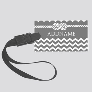Gray and Charcoal Modern Chevron Large Luggage Tag
