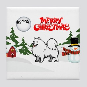 Merry Christmas American Eskimo Dog Tile Coaster