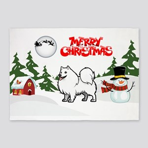 Merry Christmas American Eskimo Dog 5'x7'Area Rug