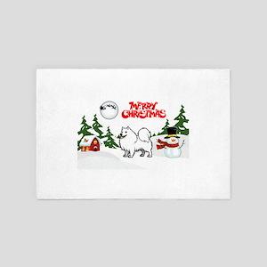 Merry Christmas American Eskimo Dog 4' x 6' Rug