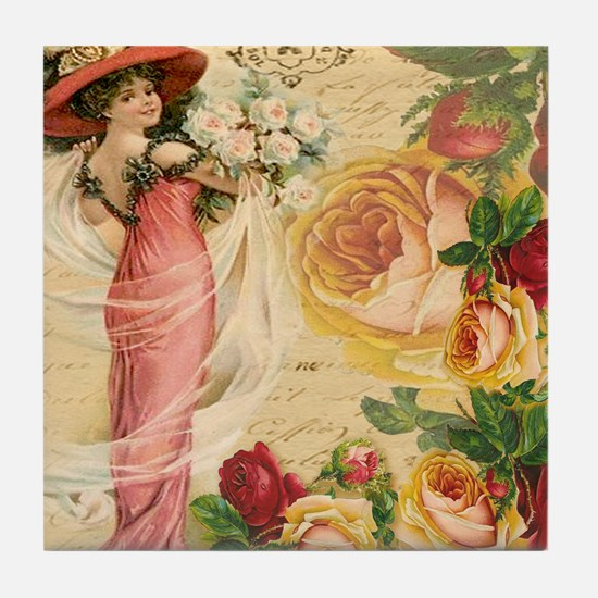 Rose Lady Tile Coaster