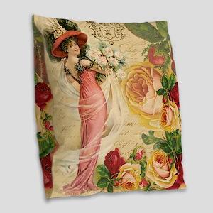 Rose Lady Burlap Throw Pillow