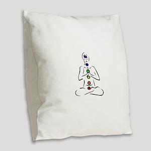 Chakras Align Burlap Throw Pillow
