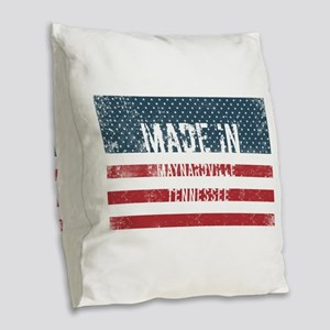Made in Maynardville, Tennesse Burlap Throw Pillow