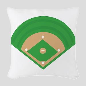 BaseballField_Base Woven Throw Pillow