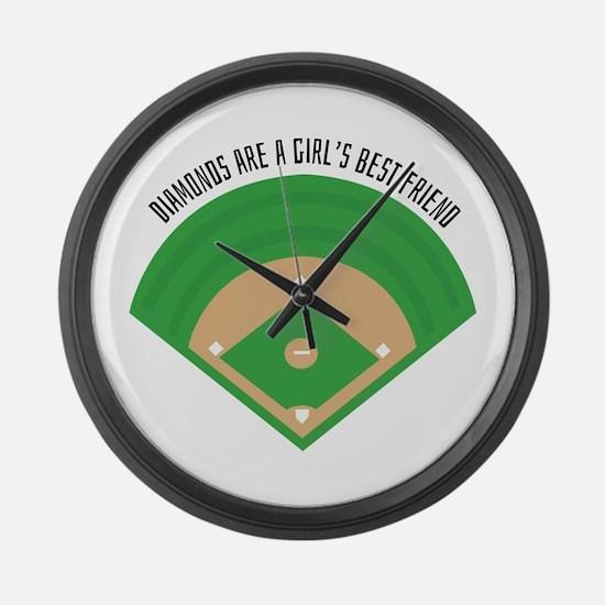 BaseballField_Diamonds Large Wall Clock