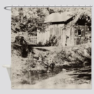Rusty Farm Truck and Rustic Barn Shower Curtain