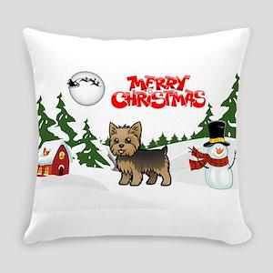 Merry Christmas Yorkie Everyday Pillow