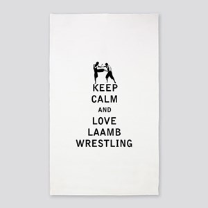 Keep Calm and Love Laamb Wrestling Area Rug